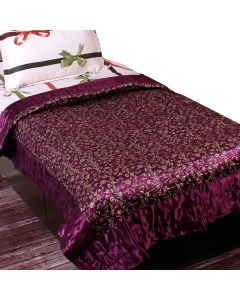 Awesome Floral Printed Purple Colour Quilt