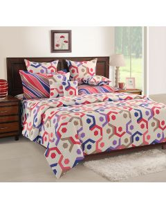 Heaven Of White Colourful printed Bedsheet