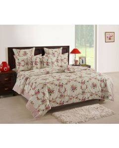 White Coloured Printed Bedsheet With Pillow Covers