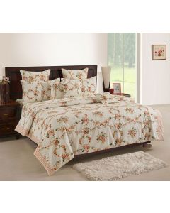 Cotton Printed White Colour Bedsheet With Pillow Covers
