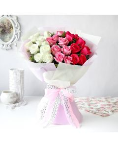 Pink, White and Red Roses Bouquet