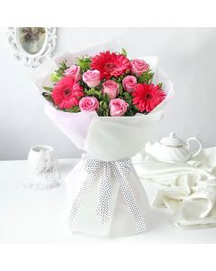 Pink Roses and Gerberas Bunch