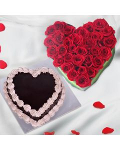 Heart Shaped Roses And Chocolate Cake