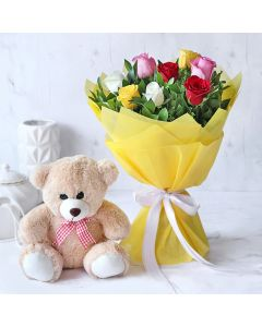 Mixed Roses with Teddy Bear