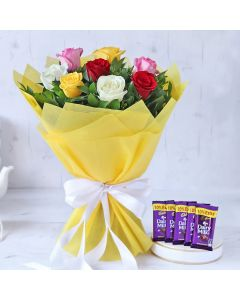 Mixed Roses with Chocolates
