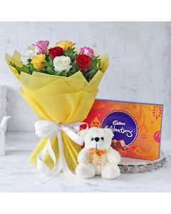 Mix Roses with Cadbury Celebrations And Teddy Bear