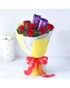 2 Cadbury Silk Chocolate & Red Roses Bouquet