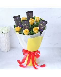 4 Cadbury Bournville with Yellow Roses Bouquet