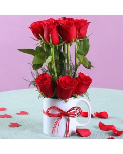 10 Red Roses With Mug