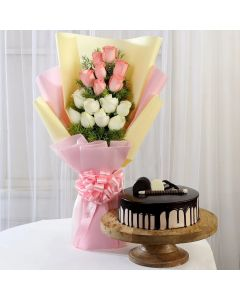 Pink & White Roses With Chocolate Cake