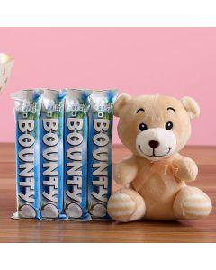 Teddy Bear With Bounty Chocolate