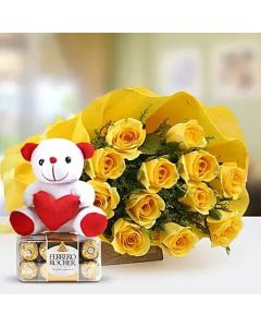 Yellow Roses and Small Teddy with Ferrero Rocher Chocolate