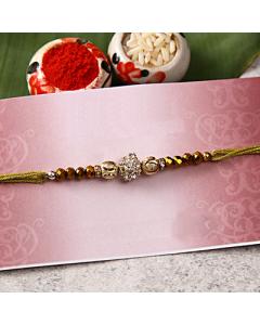 Buy Golden Moti & Stone Rakhi Online