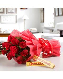 Red Roses With Toblerone Chocolates