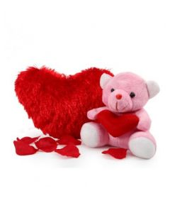 Heart Cushion With Li'l Teddy Bear