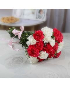 Red & White Carnation Bouquet