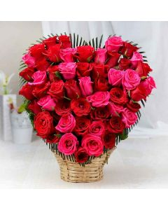 Red & Pink Roses Basket
