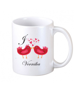 Personalize Mug Printed Two Loving Bird Over It