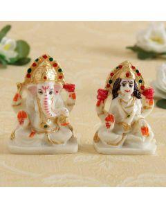 Buy Marble(dust) Idol of Goddess Lakshmi & Lord Ganesha Online