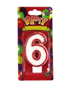 Buy Red outlined Number Birthday Wax Candle (No.6) Pack of 1 Online