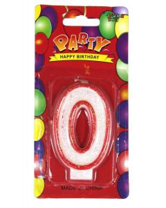 Buy Red outlined Number Birthday Wax Candle (No.0) Pack of 1 Online