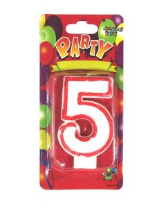 Buy Red outlined Number Birthday Wax Candle (No.5) Pack of 1 Online