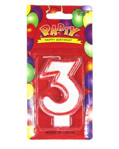 Buy Red outlined Number Birthday Wax Candle (No.3) Pack of 1 Online