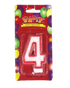 Buy Red outlined Number Birthday Wax Candle (No.4) Pack of 1 Online