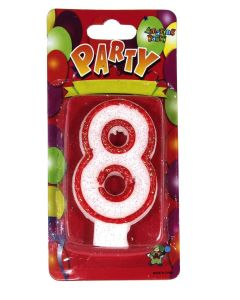 Buy Red outlined Number Birthday Wax Candle (No.8) Pack of 1 Online