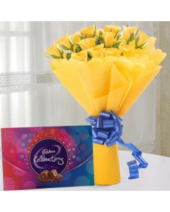 Bunch of 12 Yellow Rose With Cadbury Celebration