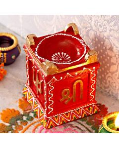Buy Red Coloured Clay Diya Online