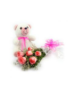 Pink Roses And Teddy Bear Combo