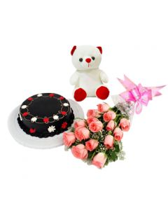 Buy Roses Choco. Cake with Teddy Bear Online