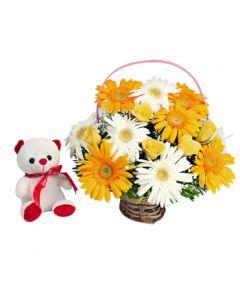Buy Teddy Bear With Gerberas Basket Online