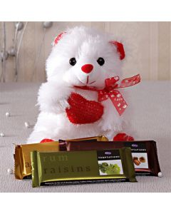 3 Cadbury Temptations with White Teddy Bear