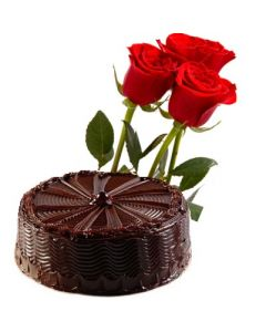 Chocolate Cake and Red Roses Combo