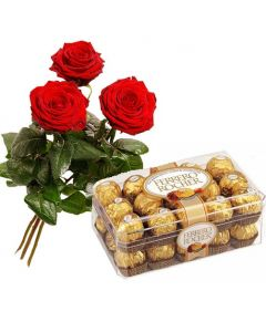 Ferrero Rocher Chocolate and Red Roses Bunch