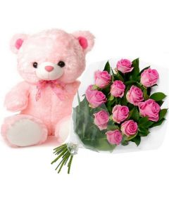 Buy Pink Roses Bunch and Teddy Online