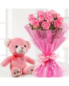 Buy Pink Roses With Teddy Bear Online