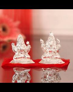 Buy Silver Laxmi Ganesha Idol 30 Gms