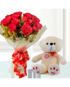 Teddy With Rose Bunch