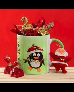 Christmas Mug With Chocolate and Small Santa Claus