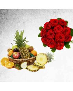 Fresh Fruits 2Kg and Roses