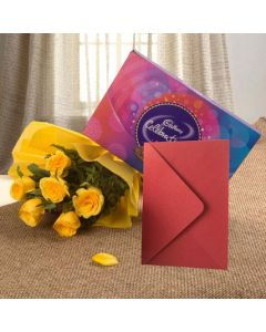 Flowers Bloom, Chocolates With Greeting Card
