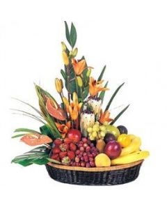 Fresh Fruits 3kg & Flowers in a Gift Basket