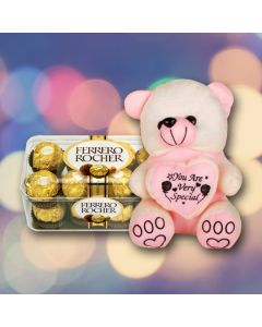 Cute Teddy With Ferrero Rocher Chocolate
