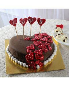 LOVE Red Hearts Cake