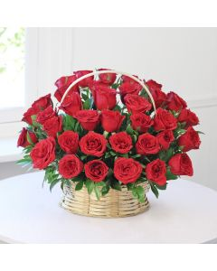 Beautiful Flower Basket With 40 Red Roses