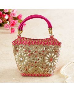 Silk Bag with Zardozi Embroidery