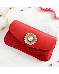 Dark Red Silk Clutch
